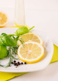 Aneth Basil Dressing de citron Photographie stock