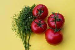 Aneto e quattro pomodori su fondo giallo Fotografie Stock