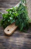 Aneto e salsa frescos em uma placa de corte com a faca na tabela de madeira Foto de Stock Royalty Free