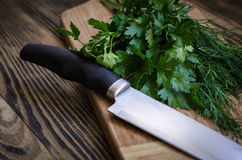 Aneto e salsa frescos em uma placa de corte com a faca na tabela de madeira Fotos de Stock Royalty Free