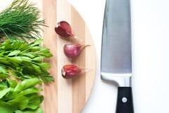 Aneto, salsa, rúcula e alho frescos com a faca no fundo branco Imagem de Stock