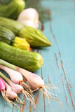 Aneto verde delle cipolle dello zucchini delle verdure Fotografie Stock Libere da Diritti