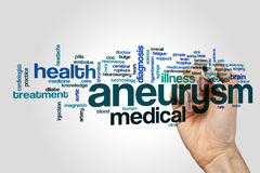 Aneurysm word cloud on grey background.  stock image