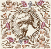 aneurysmen bön retro Pojken behandla som ett barn barnet Ramkort Härliga barockblommor Teckning gravyr Vektorvictorianillustratio stock illustrationer