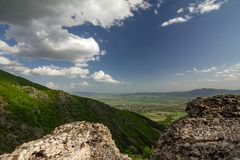 Anevo Kale in Stara Planina, Sopot, Bulgaria. Remains and ruins of the stone walls of medieval fortress called Anevo Kale in Stara Planina mountain near Sopot stock images