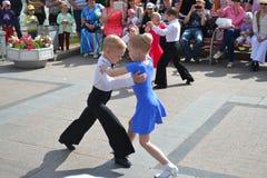 Anförande av unga dansare Arkivfoto