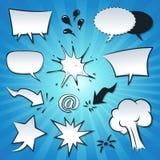 Anförande bubblar, explosionen och färgstänkuppsättningen Royaltyfri Foto