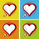 Anförande bubblar förälskelse som hjärta i Pop-Konst utformar fastställda kort Royaltyfri Bild