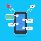 Anförande bubblar för kommentarer och svarsbegrepp i smartphone Vektorillustration med meddelandet och som symboler royaltyfri illustrationer