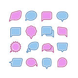 Anförande bubblar, konversation, uppsättning för vektor för symboler för pratstundtextdialog stock illustrationer