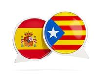 Anförande bubblar med flaggan av Spanien och Catalonia Royaltyfri Bild
