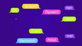 Anförande bubblar med ordet Hello i olika språk Välkommen livlig bakgrund 4K arkivfilmer