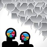 Anförande bubblar med tillsammans Arkivfoto