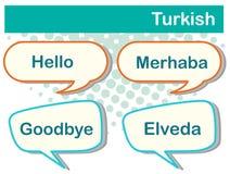 Anförande bubblar med turkiska ord Royaltyfri Fotografi