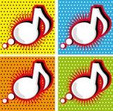 Anförande bubblar musik noterar i Pop-Konst utformar Arkivbild