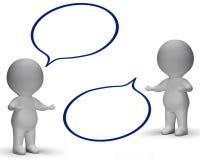 Anförande bubblar, och tecken 3d visar diskussion och skvaller royaltyfri illustrationer