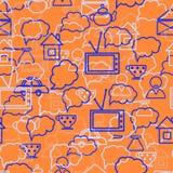 Anförande bubblar orange bakgrund Arkivfoton