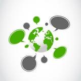 Anförande bubblar runt om världen Arkivfoto