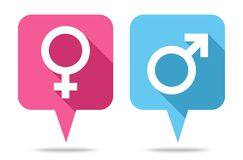 Anf?rande bubblar symboler som ?r kvinnliga och som ?r manliga med skugga royaltyfri illustrationer