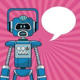 Anförande för bubbla för robotintelligens konstgjort royaltyfri illustrationer