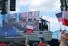 Anförande för president Donald Trump till folket av Polen Royaltyfria Bilder