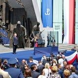 Anförande för president Donald Trump till folket av Polen Arkivfoto