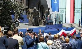 Anförande för president Donald Trump till folket av Polen Arkivbilder