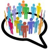 anförande för samkväm för folk för medel för bubblacirkel inre Arkivbilder
