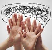 anförande för smileys för fingergruppen bubbles lyckligt Arkivfoto