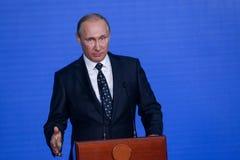 Anförande vid presidenten från den ryska federationen Vladimir Putin i Primorskyen Oceanarium arkivbilder