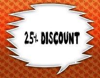 Anförandeballong med 25 PROCENT RABATTtext blommig wallpaper för bakgrund Royaltyfri Fotografi