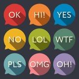 Anförandebubbla med akronymsymbolsuppsättningen vektor illustrationer