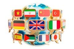Anförandebubbla med flaggor runt om jordjordklotet, tolkning 3D Arkivbilder