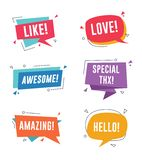 Anförandebubbla med korta meddelanden Som förälskelse, enormt och att förbluffa, specialt tack vektor illustrationer