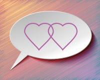 Anförandebubbla och hjärtor. Arkivfoton