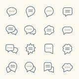Anförandebubblalinje symboler stock illustrationer