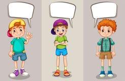 Anförandebubblamall med tre pojkar Fotografering för Bildbyråer