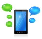 Anförandebubblor och mobiltelefon Arkivbild