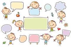 Anförandebubblor och tecken vektor illustrationer