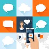 Anförandebubblor uppsättning och smartphone med förälskelse royaltyfri illustrationer