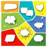 Anförandepopartbeståndsdelar Komiska tecknad filmformer för dialoger som tänker och talar på varicoloured bakgrundsuppsättning royaltyfri illustrationer