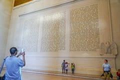 Anförandet av Abraham Lincoln i sten - Lincoln Memorial - WASHINGTON DC - COLUMBIA - APRIL 7, 2017 Arkivbilder