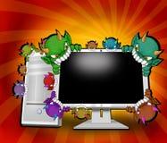 anfalla datavirus stock illustrationer
