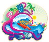 anfaller bläckfisken royaltyfri illustrationer