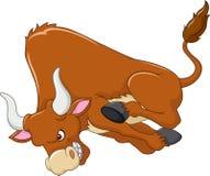 Anfaller den ilskna tjuren för tecknade filmen på vit bakgrund royaltyfri illustrationer