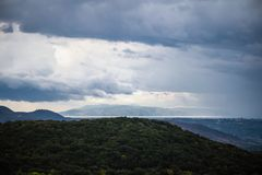 Anfang des Sturms über Kefalonia, Griechenland Lizenzfreie Stockfotografie