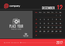 Anfang Sonntag des Dezember-Tischkalender-Design-2017 Lizenzfreie Abbildung