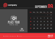 Anfang Sonntag des September-Tischkalender-Design-2017 vektor abbildung