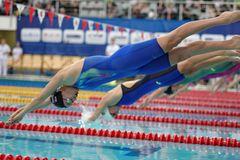 Anfang von Frauenfreistil-Schwimmenwettbewerben Lizenzfreies Stockbild