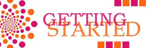 Anfang von rosa orange Dots Horizontal Stockfotografie